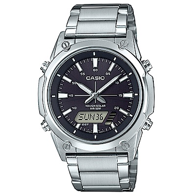 CASIO 實用商務雙重顯示太陽能電力雙顯不銹鋼錶(AMW-S820D-1A)黑面41.1