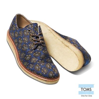 TOMS 紳士緹花牛津鞋-男款(藍)
