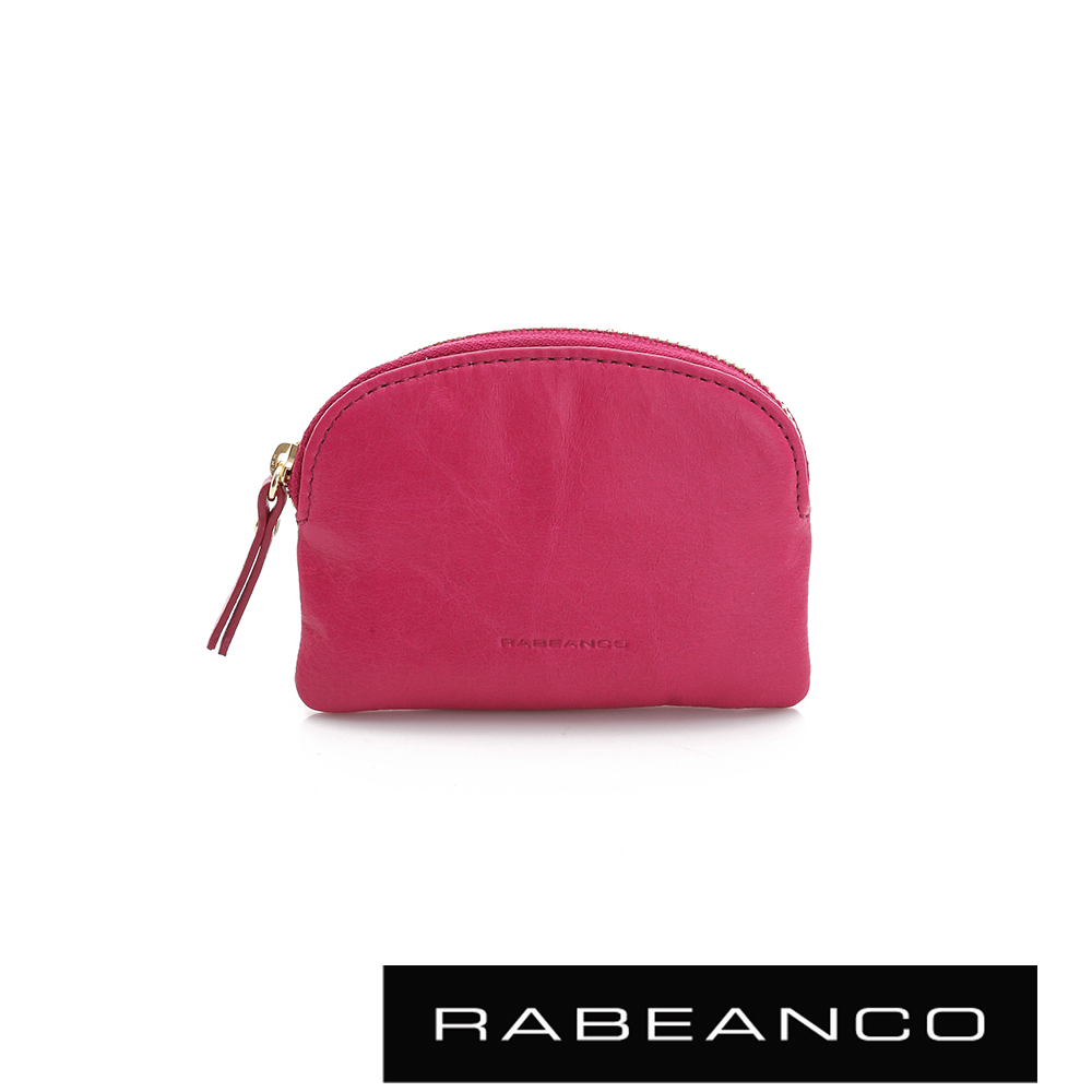 RABEANCO 迷色彩牛皮系列拉鍊零錢包   桃紅