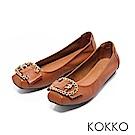 KOKKO - 超軟底真皮水鑽C扣方頭平底鞋-木棕咖