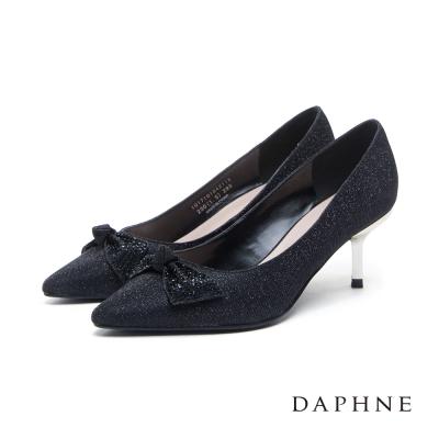 達芙妮DAPHNE-高跟鞋-蝴蝶結鑽飾金蔥尖頭高跟