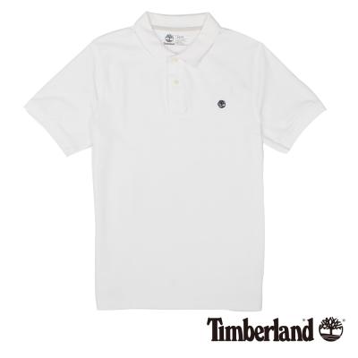 Timberland 男款白色棉質刺繡短袖POLO衫
