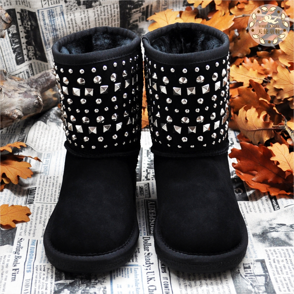 天使童鞋-B325 帥氣鉚釘搖滾雪靴-黑