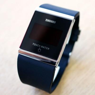 SKMEI時刻美 繽紛果凍LED多彩 觸控智能電子錶~黑