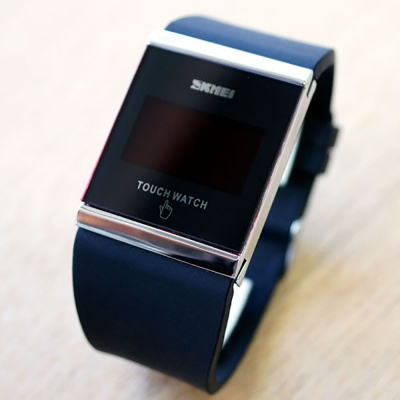 SKMEI時刻美 繽紛果凍LED多彩時尚觸控智能電子錶-黑