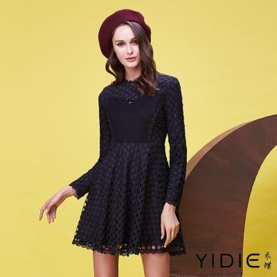 YIDIE衣蝶 針織拼接網狀蕾絲洋裝