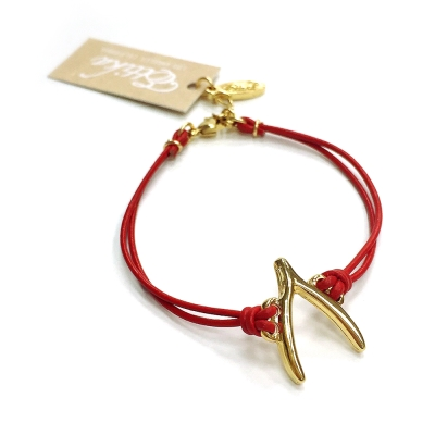 Ettika 美國品牌 許願骨 wishbone 紅皮革手鍊