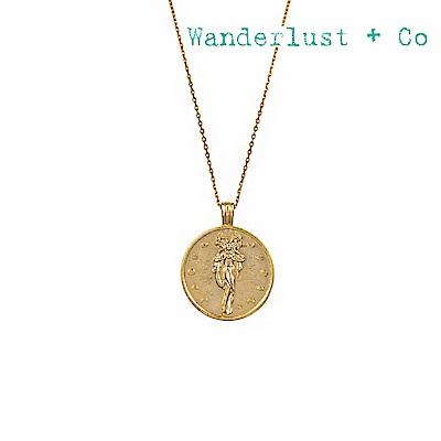 Wanderlust+Co 澳洲時尚品牌 塞勒涅希臘月亮女神吊牌項鍊 金色