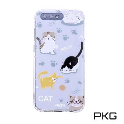 PKG ASUS Zenfone4 ZE554KL 彩繪空壓氣囊保護殼-浮雕彩繪-玩耍貓