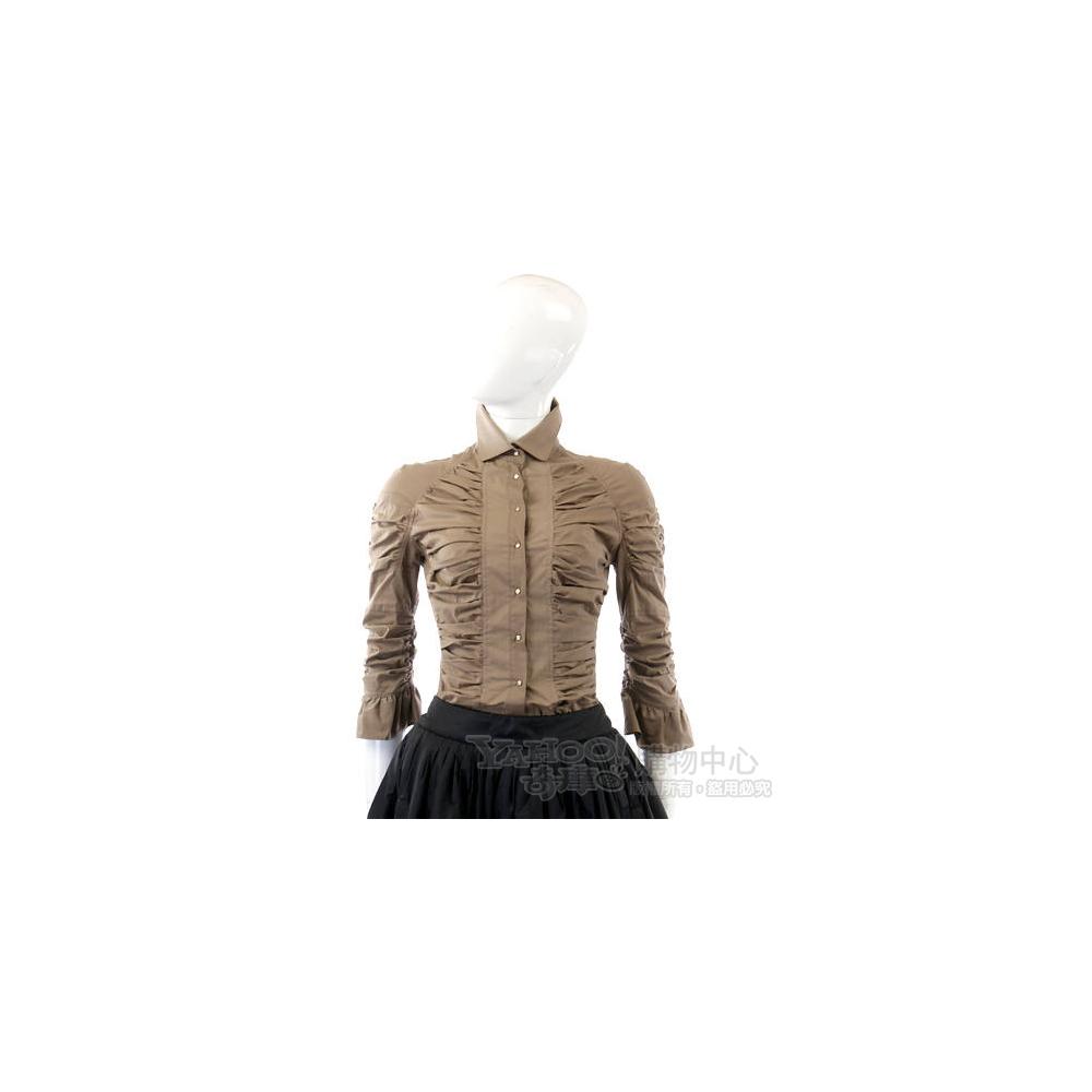 GAETANONAVARRA 卡其色抓摺設計襯衫