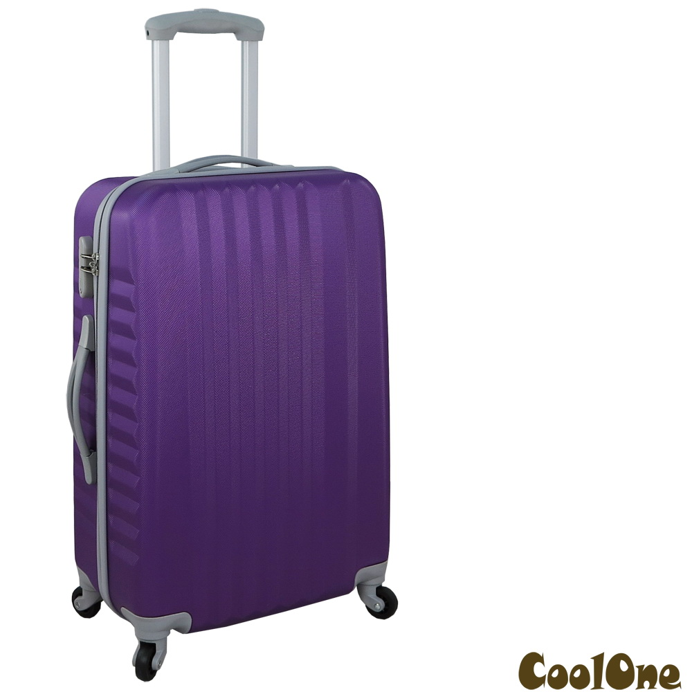 CoolOne 晶彩亮點-直條紋硬殼24吋旅行箱(紫色)