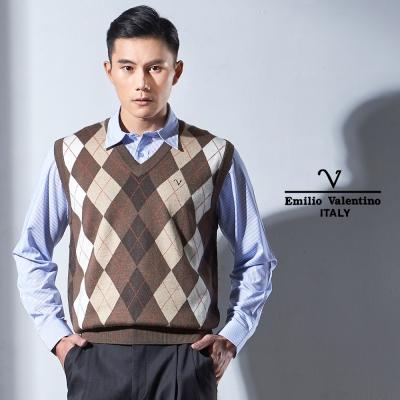 Emilio Valentino 菱格暗紋V領毛衣背心_咖啡(67-Y1355)