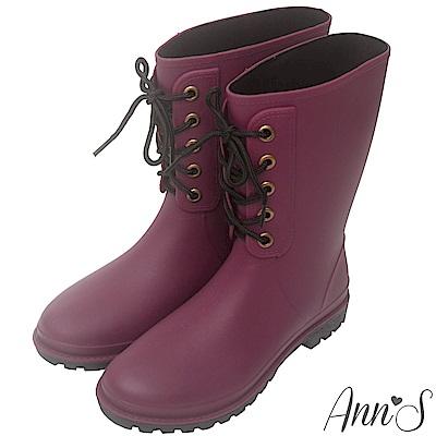 Ann'S偶陣雨-造型前綁帶中筒雨靴-酒紅