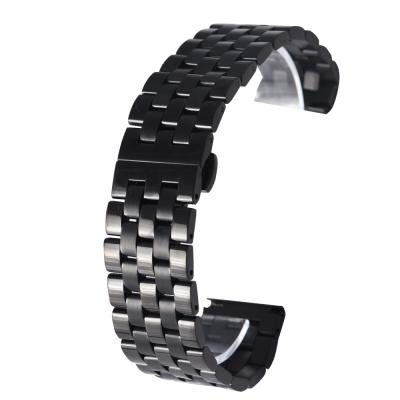 PARNIS BOX 22mm 代用錶帶 雙向按壓鋼帶 不鏽鋼 IP電鍍 五排款 黑鋼