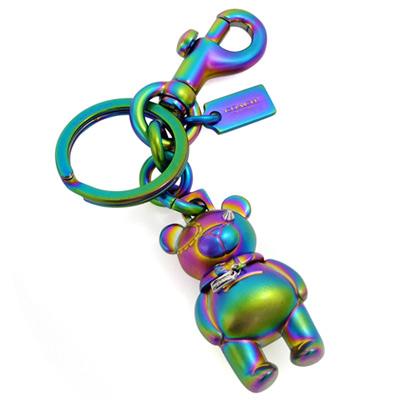 COACH霓彩金屬立體小熊圓型掛式雙扣環鑰匙圈COACH