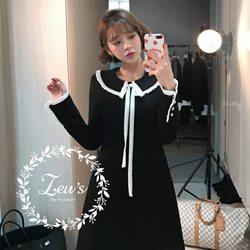 韓國早春新款氣質學院風洋裝