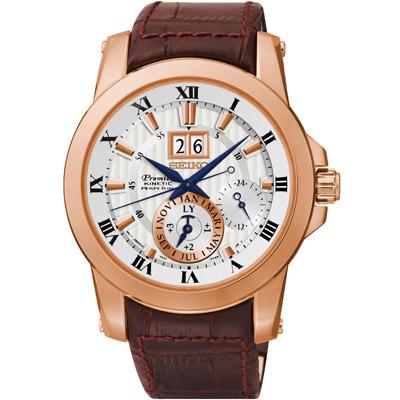 SEIKO PREMIER 尊爵品味萬年曆人動電能腕錶(SNP096J1)-銀x玫瑰金/41mm