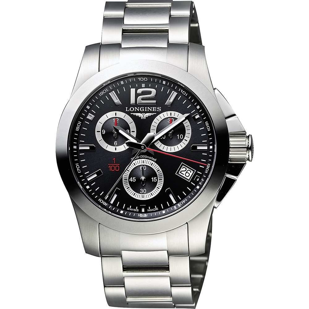 LONGINES Conquest 1/100秒賽馬計時腕錶-黑/41mm