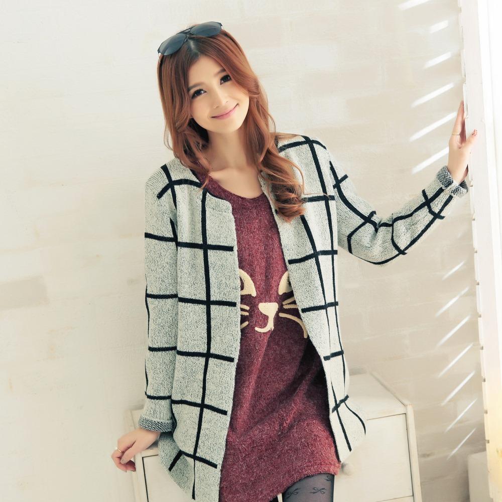 La Belleza 韓版大格子開襟針織毛衣外套