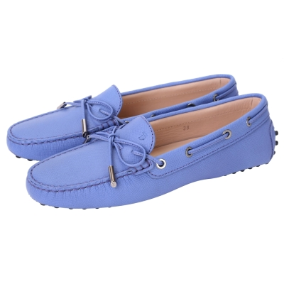 TOD'S Gommino 壓紋牛皮綁帶豆豆休閒鞋(女鞋/水藍色)