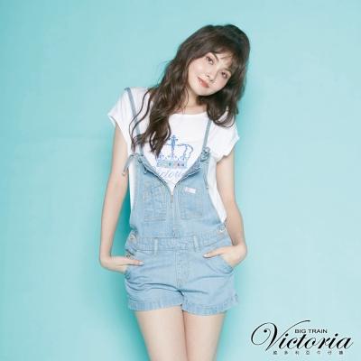 Victoria 天絲棉吊帶淺藍短褲-女-淺藍