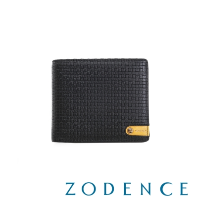 ZODENCE MAN義大利牛皮系列低調配色LOGO三折短夾 織紋黑