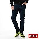 EDWIN 大尺碼EDGE迷彩提織後染窄直筒色褲-男-丈青