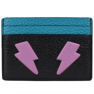 COACH 表情圖案雙色荔枝牛皮卡片夾(藍)COACH