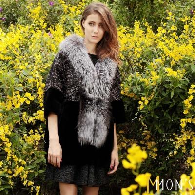 MONS-銀狐毛領寬鬆牛羊毛外套