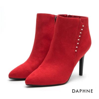 達芙妮DAPHNE 踝靴-絨面水鑽尖頭踝靴-紅
