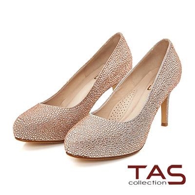 TAS 華麗水鑽光澤感高跟鞋-玫瑰金