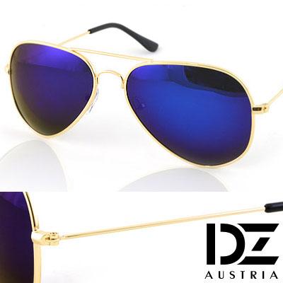 【2件59折】DZ 復古饗宴 抗UV 偏光太陽眼鏡墨鏡(金框深藍膜)
