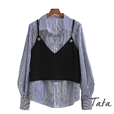 兩件式條紋上衣加細肩帶背心 TATA-動態show