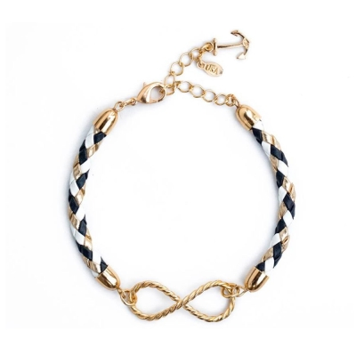 Kiel James Patrick 深藍金白色皮革編織金色無限綴飾單圈手環