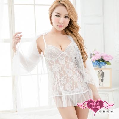 罩衫 蕾絲玫瑰 薄透罩衫連身睡衣(白F)AngelHoney天使霓裳