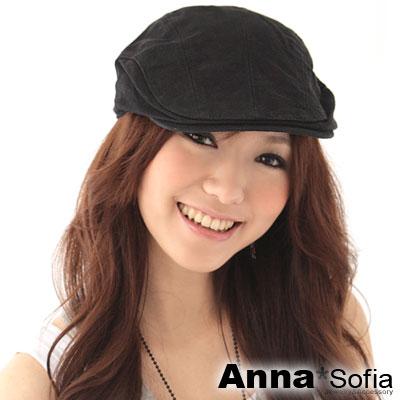 AnnaSofia-素面單色-棉質鴨舌帽小偷帽-黑系