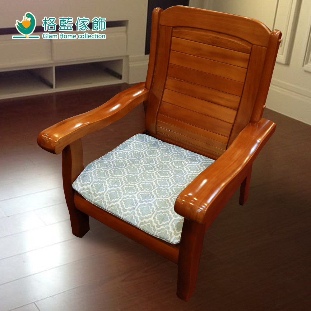 格藍傢飾 雅室緹花坐墊套-藍1人含內坐墊-2款任選