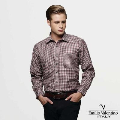 Emilio Valentino 范倫提諾經典格紋襯衫-紅黑