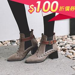 龐克鉚釘扣帶中跟短靴