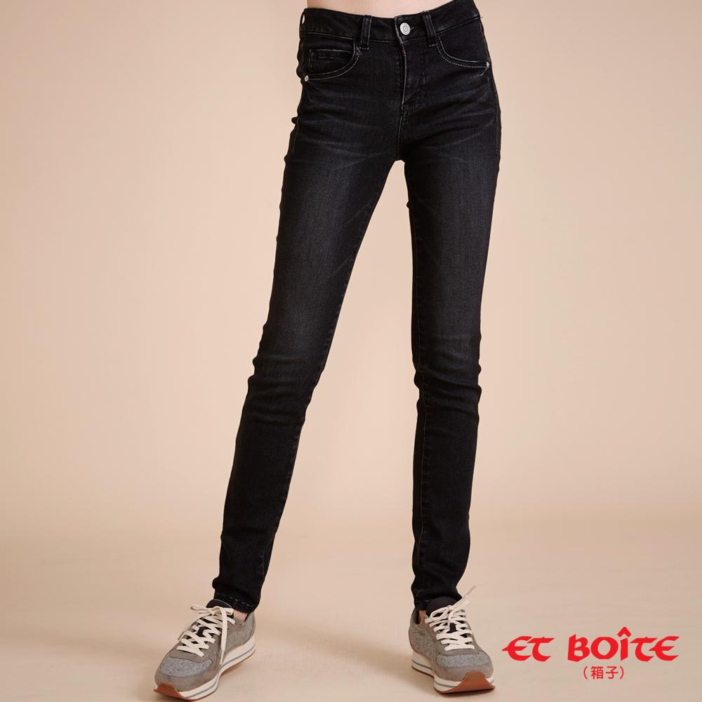ETBOITE 箱子 BLUE WAY 全方位美型計畫-魔力骨感美線高腰窄直褲-黑