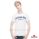 BRAPPERS 男款 英文拼接純棉圓領短袖T恤-白