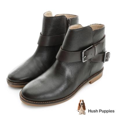 Hush Puppies 個性風內增高短靴-咖啡色