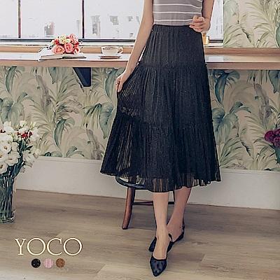 東京著衣-yoco 優雅女伶多色輕柔銀蔥網紗長裙-S.M.L(共三色)