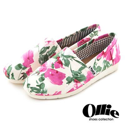 Ollie韓國空運-正韓製粉嫩彩繪花朵碎花帆布懶人鞋-白