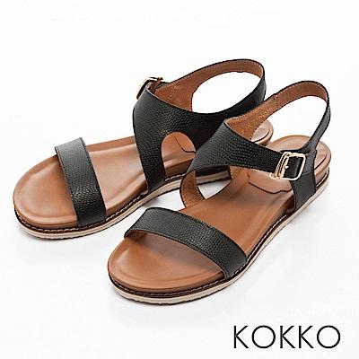 KOKKO-舒適幾何線條牛皮平底涼鞋-黑