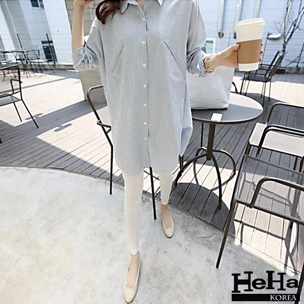 襯衫 長版繭型寬鬆條紋襯衫 藍色-HeHa
