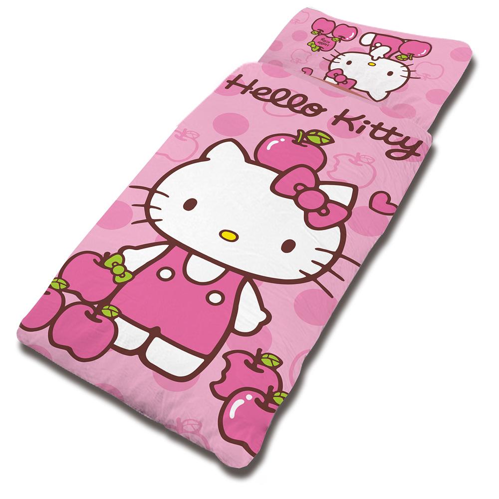 【享夢城堡】HELLO KITTY 粉紅蘋果系列-兒童睡袋