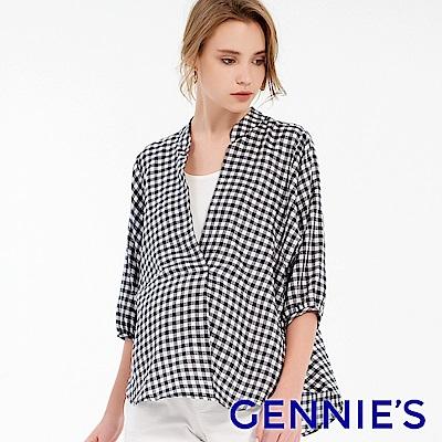 Gennies專櫃-純棉條紋立領燈籠袖哺乳衣(T3F05)藍白格