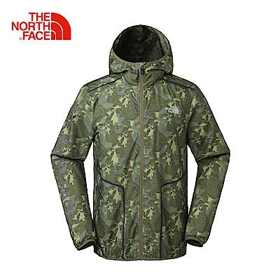 The North Face北面男款綠色印花防潑水休閒防風衣