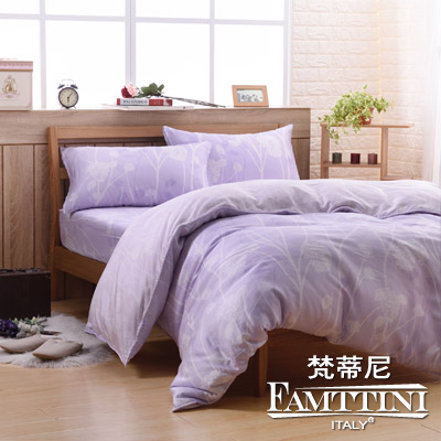 梵蒂尼Famttini-曼舞花禾 雙人頂級純正天絲萊賽爾兩用被床包組